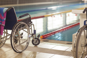 Wheelchair at poolside