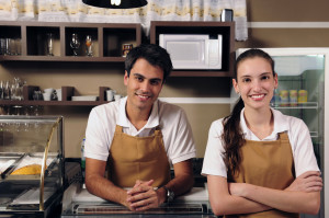 Two servers at cafe
