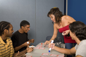 Young adults playing bingo