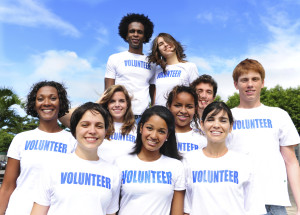 Group of multiethnic volunteers